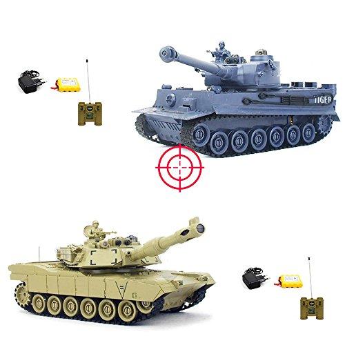 RC PANZER SET GERMAN LEOPARD 2 A5 : 2 x RC ferngesteuerter Panzer mit integriertem INFRAROT-BATTLESYSTEM Gefechtmodi, Schusssimulation, Sound und Beleuchtung, KOMPLETT-SET inkl. Fernsteuerung, Akku und Ladegerät,Neu