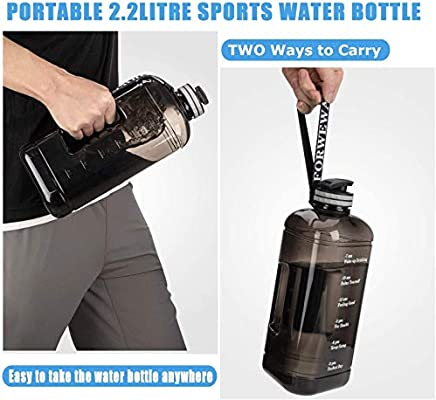 FORWEWAY Half Gallon Water Bottle with Straw Large Water Bottles with Handle 2.2L Plastic Water Jugs BPA-Free Gallon Water Jug 74 OZ Reusable Water Container for Outdoor Sports Hiking Traveling