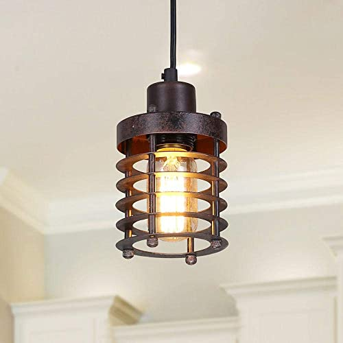 LNC Pendant Lighting for Kitchen Island Farmhouse Barn Warehouse Mini Cage Ceiling Lamp with Brown Rust A02534,
