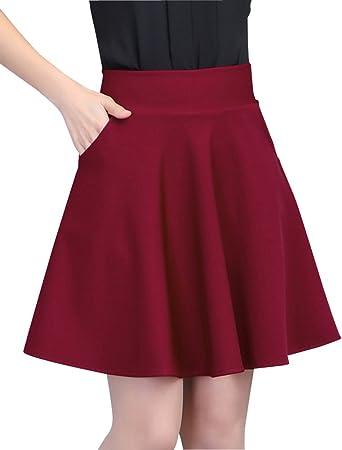 Mujer Ocio Elasticidad Color Sólido Faldas Plisadas Corto A-Línea ...