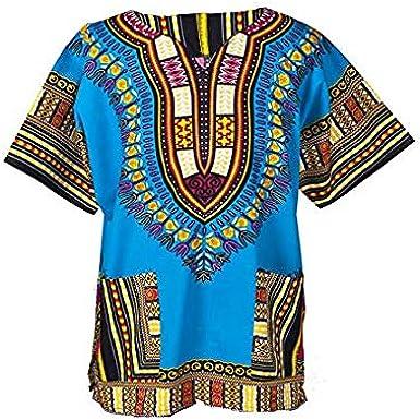 Lofbaz Unisex Dashiki Tradicional De Impresión de África Camisa Hippy