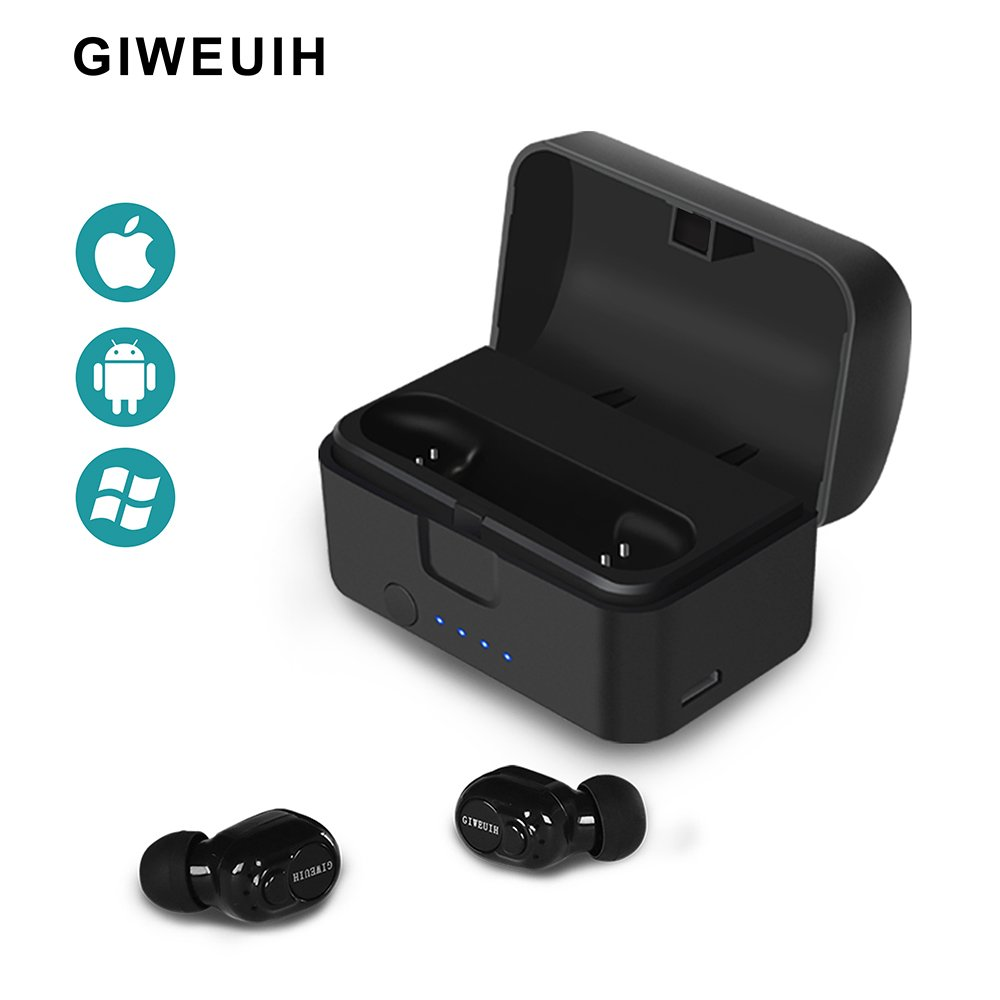 GIWEUIH V5.0 Bluetooth Headphones True Wireless Earbuds Earpiece Stereo Earphone Car Headset with Portable Charger Earpods sweatproof for Running iPhone, Android Microphone, Cell Phone Smartphone