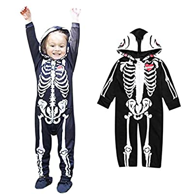 Clearance! Napoo Toddler Infant Baby Boy Skull Skeleton Zipper Hooded Romper Jumpsuit Outfits