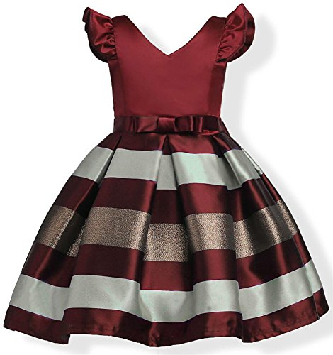 Flower Girl Pageant Dress Baby Little Girls Hawaiian Elegant Tulle Wedding Princess Ball Gown Sleeveless Easter Birthday Party Kids Ruffles Stripe Bow Formal Dresses 5-6 Year (Wine Red, 130) ()