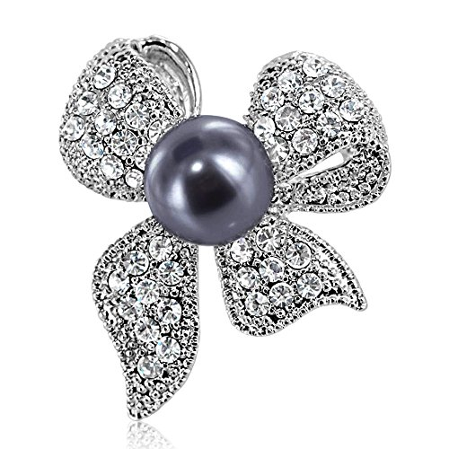 (Brooch Pin by DoubleAccent Austrian Crystal Simulated Pearl Ribbon Bow Brooch Pin, Choice of Colors, Black)