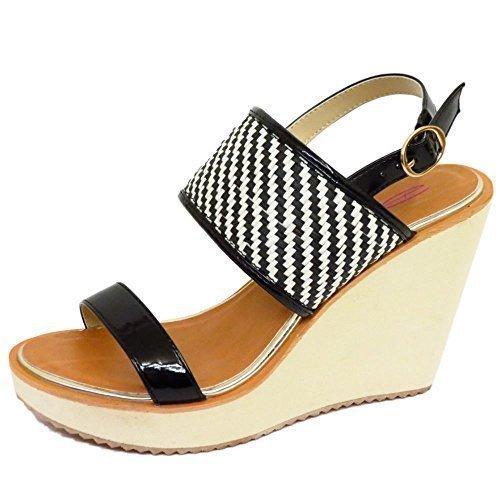 Señoras Dolcis Negro Blanco Cuñas Plataforma Sandalias Zapatos de tobillo zapatos de tamaños 3-8