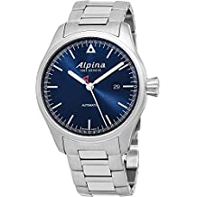 Alpina Startimer Pilot Automatic Date 44mm Navy Blue Face Swiss Alpina Watch Men - Limited Edition Water Resistant Stainless Steel Automatic Watch AL-525N4S6B