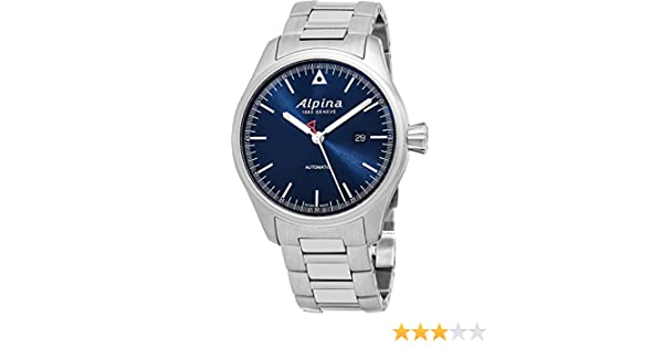 Amazon.com: Alpina Startimer Pilot Automatic Date 44mm Navy Blue Face Swiss Alpina Watch Men - Limited Edition Water Resistant Stainless Steel Automatic ...
