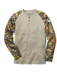 Mens Rasco Khaki/Navy Henley Flame Resistant T Shirt