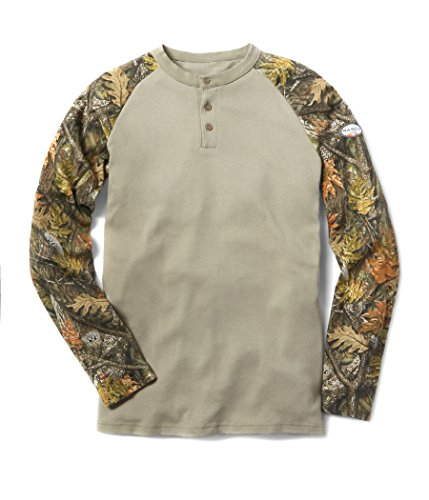 - Rasco FR Two Tone Henley T Shirt - 7.1 Oz - Woodland Camo/Khaki (3X-Large)