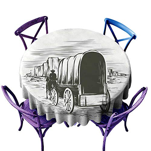 Warm Family Western Dustproof tableclothOld Traditional Wagon Wild West Prairies Pioneer on Horse Transportation Cart Great for Buffet Table D51