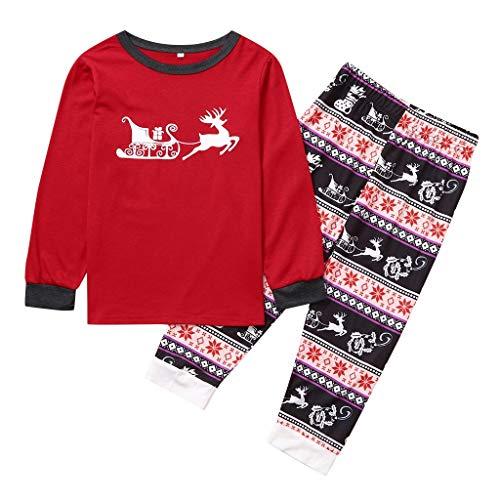 Pyjamas Set,Children Kids Christmas Elks& Funny Carriage Crew Neck Sleepwear Shirt Xmas Family Pajamas Sets Loungewear