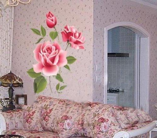 Rose Flower Removable PVC Wall Sticker Home decor Room Decal Large Size