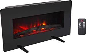 Zokop 36''W Wall Mounted & Freestanding Electric Fireplace Heater with Remote Controller, Realistic Color Flame, 3 Flame Brightness Levels for Home Room Indoor