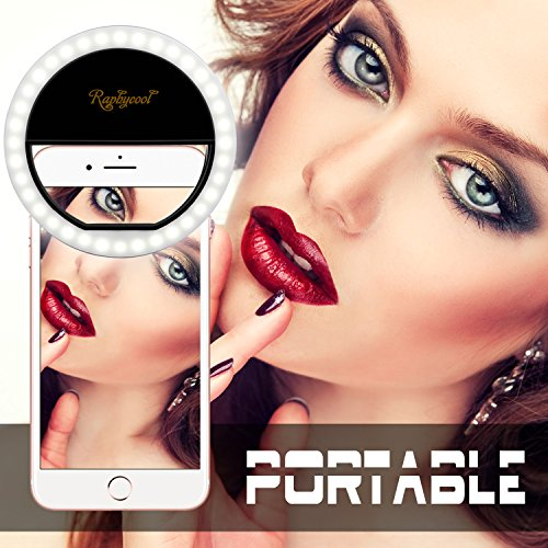 [RC Selfie Ring Light for Phone, Selfie LED Light for iPhone Samsung Galaxy HuaWei P9 iPad, Cellphone Photography Camera Video-Black] (Fun Lamp That Lights)