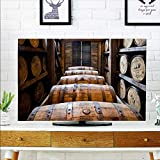 aolankaili Cord Cover for Wall Mounted tv Oak Barrels Made by Bourbon Whisky Cover Mounted tv W35 x H55 INCH/TV 60""