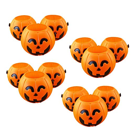 KOBWA Halloween Pumpkin Candy Holder, 12 Mini Trick or Treat Halloween Candy Buckets, Halloween Realistic Pumpkin Sweet Holders with Handles, Halloween Tools and Decoration ()