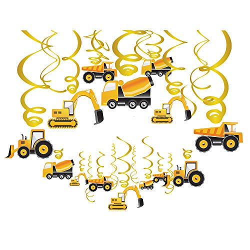 CC HOME Construction Theme Birthday Party Supplies Decorations, Traffic Jam Construction Hanging Decoration Construction Swirls Decorations , Excavator,Bulldozer Vehicle ,Farm Tractor,Cement Mixer Truck Decorations ,Construction Traffic Jam Birthday Party Supplies for Home, Classroom ,Kid`s .Boy,Girls,Toddlers Birthday Party,Baby Shower Party Decoration -