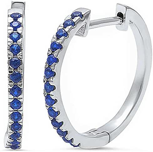 Simulated Blue Sapphire .925 Sterling Silver Hoop Earring