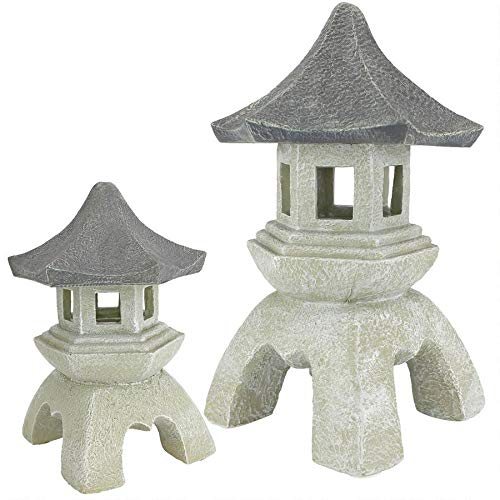 Design Toscano Asian Decor Pagoda Lantern Outdoor Statue, Medium 10 Inch and Large 17 Inch, Set of Two, Polyresin, Two Tone Stone