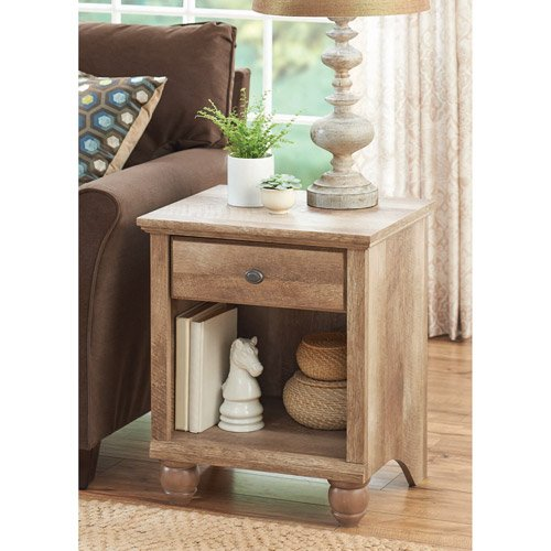 Brown Distressed Wooden Weathered End Table or Nightstand. Rustic Wood Bed Side Night Stand w/ Book Shelf & Drawer. ON SALE NOW!!! Use in Bedside in Bedroom or Next to Couch in Living Room from Better Homes and Garden