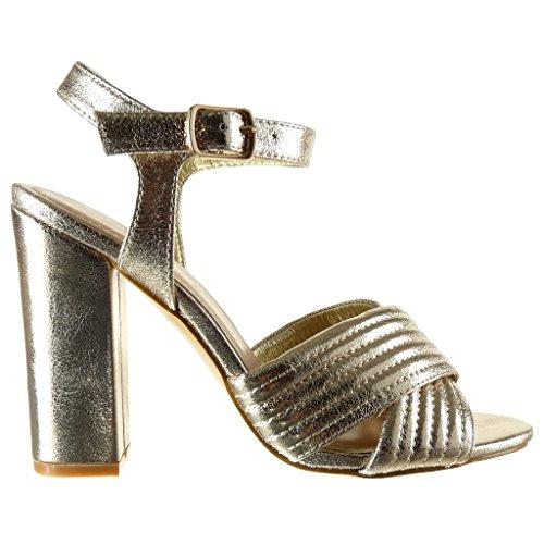 Angkorly - Scarpe da Moda sandali scarpe decollete aperto donna lines finitura cuciture impunture tanga Tacco a blocco tacco alto 10.5 CM - Oro