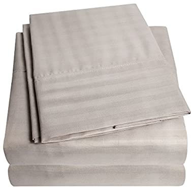 1500 Supreme Collection Dobby Striped Sateen 4 Piece Bed Sheet Set Deep Pocket - All Sizes, 23 Colors - Queen, Dobby Stripe Gray