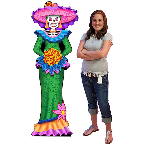 6 ft. Mardi Gras Day of The Dead Catrina Standee Standup Photo Booth Prop Background Backdrop Party Decoration Decor Scene Setter Cardboard -