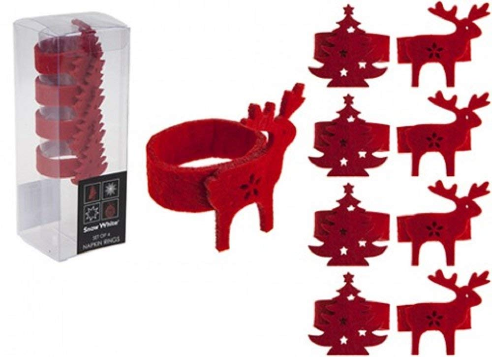 PMS Lot de 4/Ronds de Serviette Feutrine en bo/îte en PVC de 2/Asstd Designs