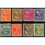 PREXIE MIX ~ EIGHT STAMPS FROM THE PRESIDENTIAL SERIES ~ FRANKLIN ~ BENJAMIN FRANKLIN ~ JOHN ADAMS ~ THOMAS JEFFERSON ~ WHITE HOUSE ~ JOHN QUINCY ADAMS ~ ANDREW JACKSON ~ MARTIN VAN BUREN ~ MINT US POSTAGE STAMPS FROM 1938 ~ STAMP COLLECTING