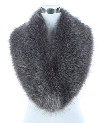 (Lucky Leaf Women's Winter Fake Faux Fur Stole Scarf Wrap Collar Shawl Shrug for Wedding Evening Party (Grey))