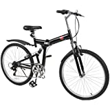 """Best Choice Products 6 Speed Shimano Foldable Bike, 26""""/One Size, Black"""