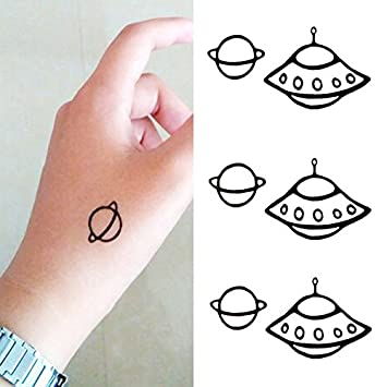 82ee5c9be Amazon.com : Oottati Small Cute Temporary Tattoo Ufo Planet (2 Sheets) :  Beauty