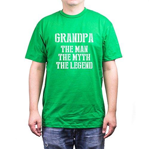 Grandpa Man Myth Legend Green T-Shirts for Grandfathers (Unisex-L) ()