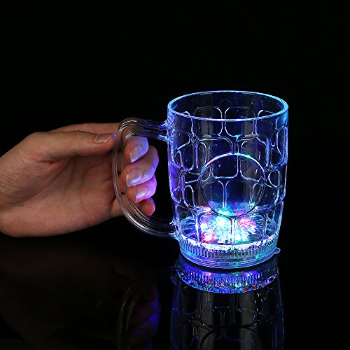 Lighted Mug - Fun Central I777, 16 oz. LED Light Up Flashing Beer Mug, LED Beer Mugs Men, Glow in the Dark Beer Mug, Glass Beer Mugs Christmas, New Year, Birthday, Weddings Father's Day Celebration