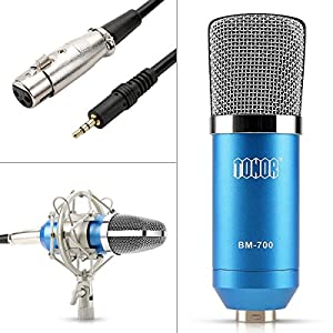 TONOR Professional Condenser Microphone XLR to 3.5mm Podcasting Studio Recording Condenser Microphone Kit Computer Mics with 48V Phantom Power Supply Blue