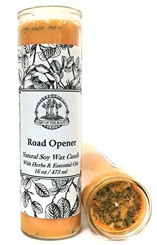 Art of the Root Road Opener Scented 7 Day SOY Herbal Spell Candle (Fixed) for Love, Money, Prosperity, Manifestation & Success (Wiccan, Pagan, Hoodoo, Magick)