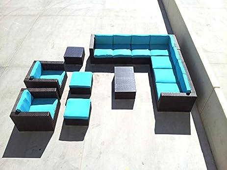 11 piece outdoor patio l shape sofa lounger set glass top tables pe