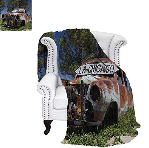 Print Artwork Image Old Car Trees Greenery in The Famous Route 66 Road in USA Rustic Home Art Warm Microfiber All Season Blanket 80