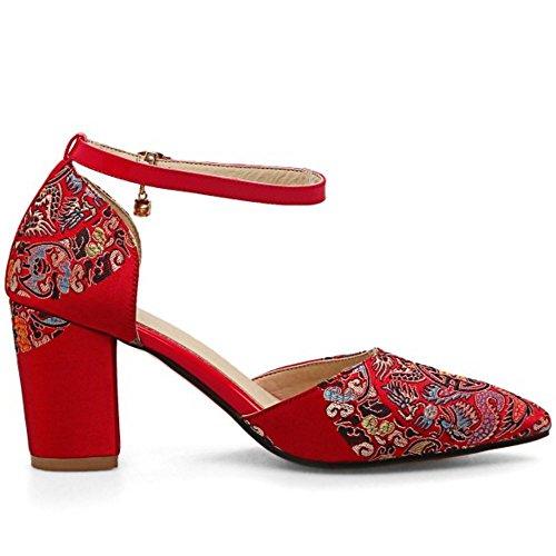 TAOFFEN Women Elegant Wedding Closed Point Toe Court Shoes Brides Block Heel Sandals 979 7.5cm Red 8tPe96q3gv