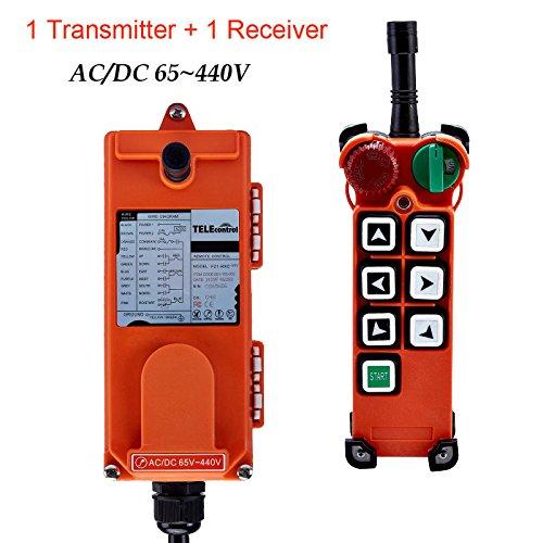 Radio F21 - Wireless Hoist Crane Single Emitter Transmitter & Receiver Industrial Radio Remote Control F21-E2 with Safety Key Switch (AC/DC 65V-440V)