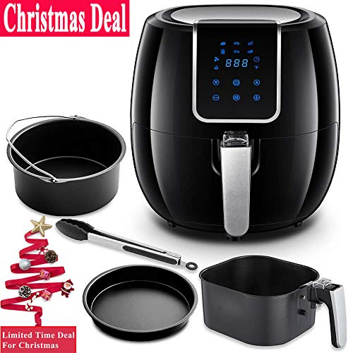 , Oil Free Air Fryer, 5.6 Qt Digital Air Fryer with Pizza Tray, Cake Bucket and Food Clip, 1800 Watts, Large Capacity, Black ()