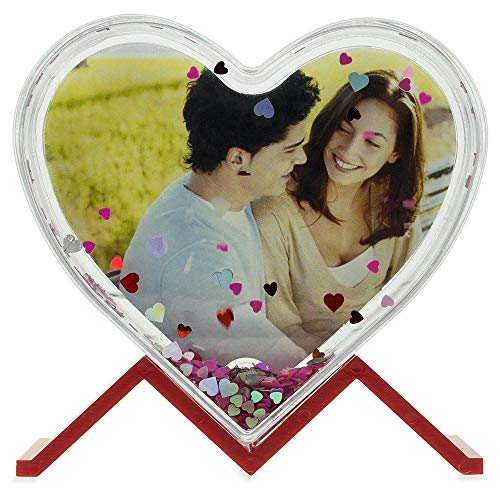 BestPysanky Glitter Water Globe Heart Shaped Picture Frame with Stand 3.9 Inches