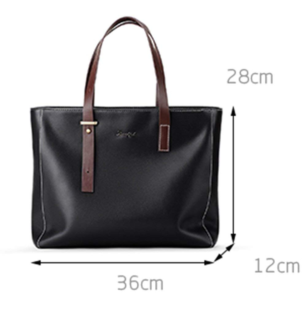 Gelaiken Laptops Bags Men's Bag Briefcase Cross Section Business Men's Handbag Casual Korean Version of The Simple Men's Soft Leather Hand Bag Padded Computer Bag Large Briefcase for Work by Gelaiken (Image #2)