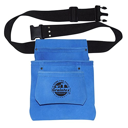 (Graintex SS2133 3 Pocket Blue Color Suede Leather Nail & Tool Pouch with 2