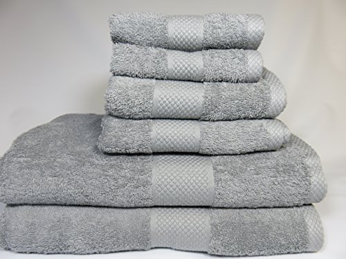 Lantrix SOFT 100% Natural COTTON 6 Piece TOWEL SET (GRAY) (Gray Pink Towels And)