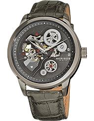 Akribos XXIV Mens AK538GY Mechanical Skeleton Leather Strap Watch