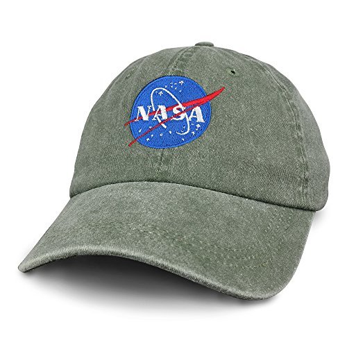 NASA INSIGNIA Embroidered 100% Cotton Washed Cap - Olive