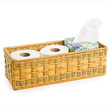 Amazon.com: The Basket Lady Wicker Toilet Tank Basket Large Toasted Oat:  Home U0026 Kitchen