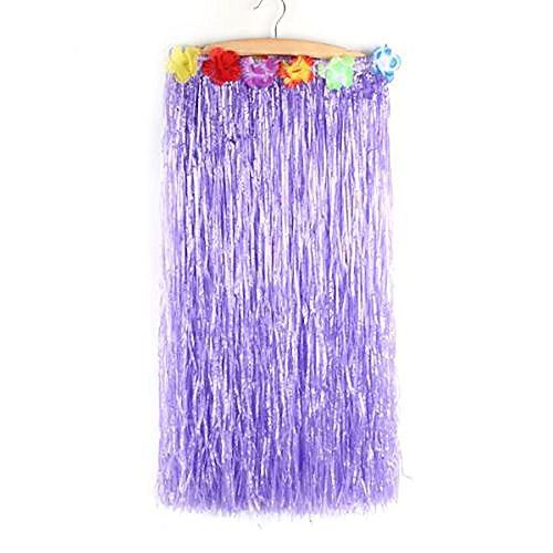 (Hawaiian Grass Hula Dancer Skirt Luau Party Costume Events Elastic Waist - Short-Purple)